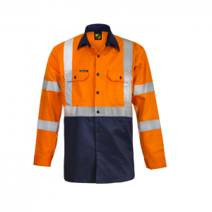 Workcraft WS6020 Hi Vis Two Tone Front Long Sleeve Cotton Drill Shirt with X Pattern