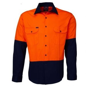 Ritemate RM1050 Open Front 2 Tone L/S Shirt