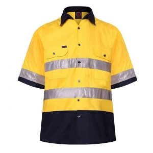 Ritemate RM1050RS 2 Tone Open Front Shirt S/S 3MTape