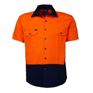 Ritemate RM1050S 2 Tone open front short sleeve shirt