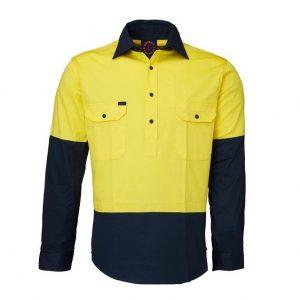Ritemate RM105CF Closed Front L/S 2 Tone Shirt