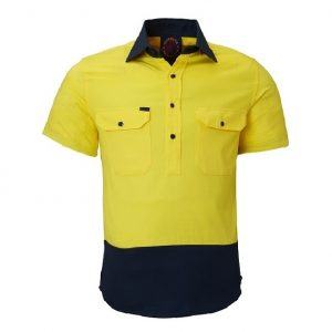 Ritemate RM105CFS Closed Front S/S 2 Tone Shirt