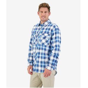 Swanndri SE18250M Blue & Charcoal  Men's Egmont Full Placket Shirt Twin Pack