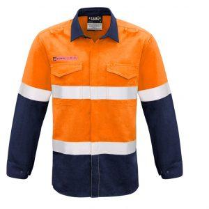 Syzmik ZW132 Mens FR Hooped Taped Spliced Shirt