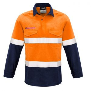 Syzmik ZW133 Mens FR Closed Front Hooped Taped Spliced Shirt