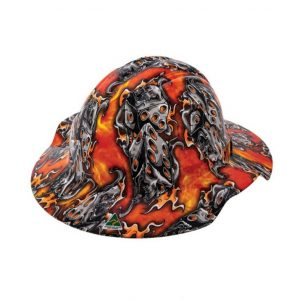 FORCE360 HPFPRBB57R-HD3 Hydro Dipped Broad Brim Hard Hat - Type 1 Flaming Dice